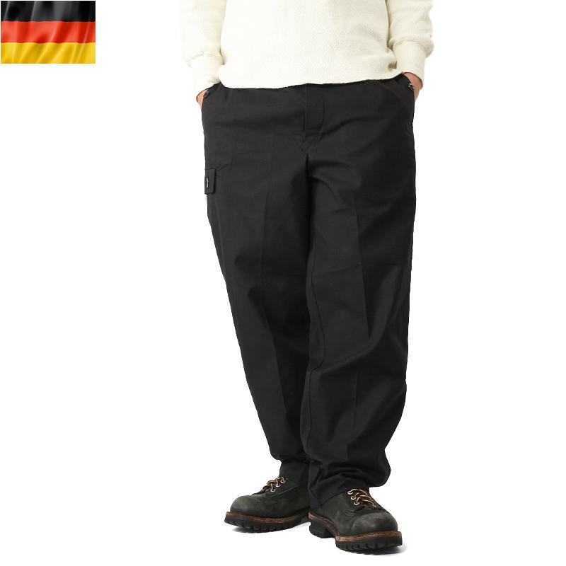 実物 新品 ドイツ軍 ワーク オーバーパンツ BLACK 表記48サイズ