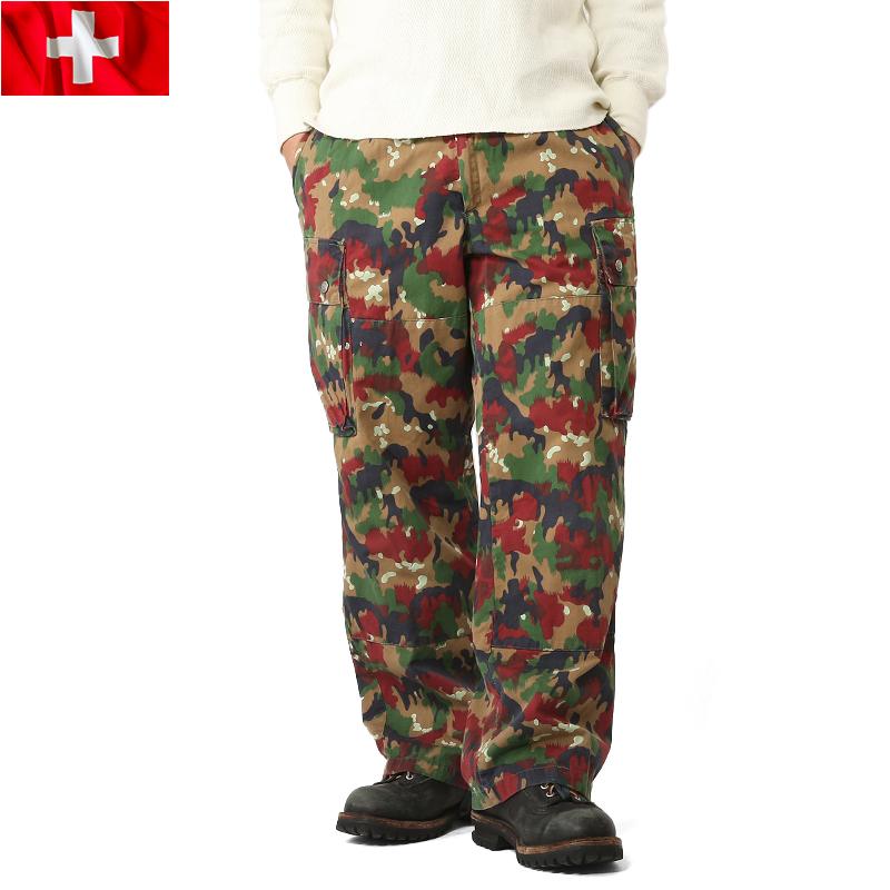 実物 スイス軍M-83フィールドパンツ USED アルペンカモ 表記44サイズ