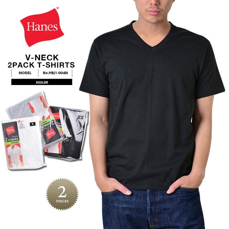 Hanes ヘインズ HBJ1-004N VネックパックTシャツ 2枚組 3色