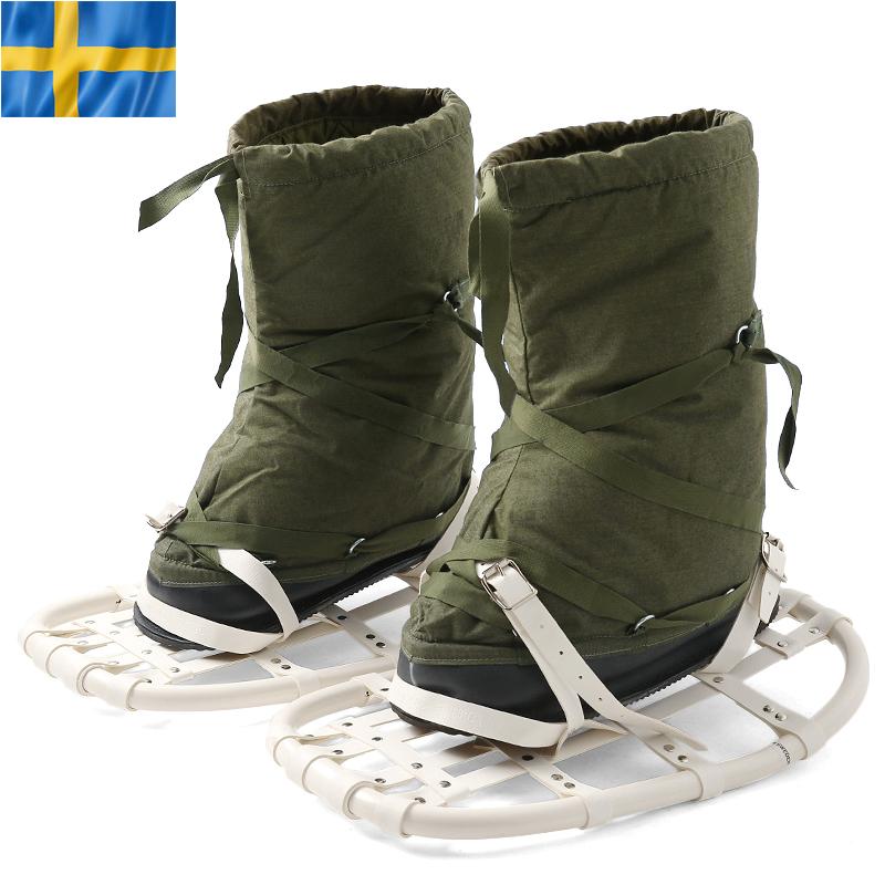 実物 新品 スウェーデン軍スノーラケット付きスノーブーツ