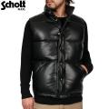 Schott ショット 204D レザーダウンベスト ブラック