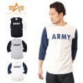 ALPHA アルファ TC1077 3/4スリーブ ARMY Tシャツ