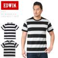 EDWIN エドウィン ET5414 ファットボーダー H/S クルーネック Tシャツ