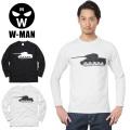 W-MAN ダブルマン 1718113 長袖 クルーネック プリント Tシャツ TANK