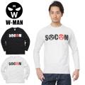 W-MAN ダブルマン 1718115 長袖 クルーネック プリント Tシャツ SOCOM
